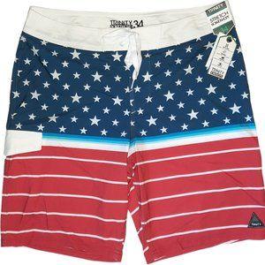 NWT Trinity USA Flag Boardshorts Mens 34